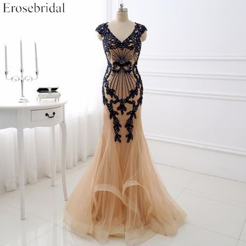 Elegant Champagne Evening Dresses Erosebridal 2018 Navy Appliques Long Mermaid Party Dress Beading Bodice Vestido De Festa DLR03