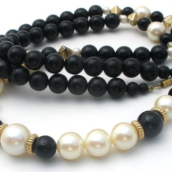 1928 Black Bead & Faux Pearl Necklace 37""