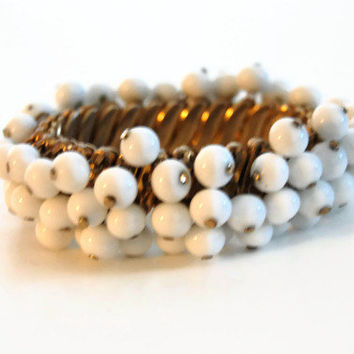 Vintage 1960's White Milk Glass Beaded Bracelet, Signed Bergere, Costume Jewelry