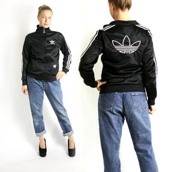 Vintage 90's Adidas Black & White Three Stripes Sport Track Jacket, Adidas Windbreaker, Trefoil Jacket - Small