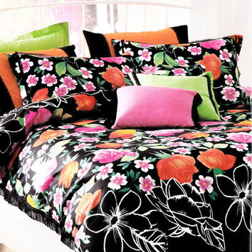 Custom Queen Size Colorful Coral Orange Fuchsia Pink Green Floral Print on Black Backround Bedding Set