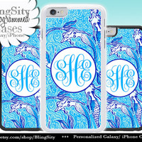 Monogram Teal Mermaids iPhone 5C 6 Case 6 Plus iPhone 5s 4 case Ipod 4 5 Touch Cover Aqua Ocean Personalized