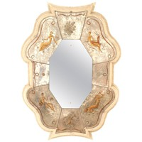 "French Midcentury Vertical Shaped Lacquered Framed ""Verre Églomisé"" Mirror"