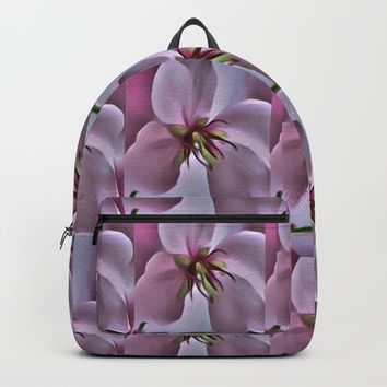 Peach Blossom Flower Pattern Backpacks by Scott Hervieux