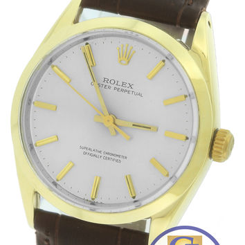 Vintage Rolex Oyster Perpetual Silver 34mm 14K Gold Shell Leather Watch 1024