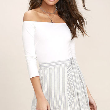 Walk on Air Blue and White Striped Wrap Mini Skirt