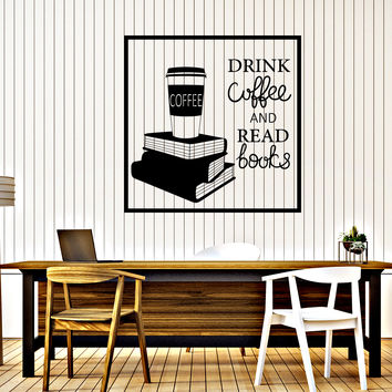 Wall Vinyl Decal Words Cloud Drink Coffe and Read Books Cafe Decor Unique Gift z4658