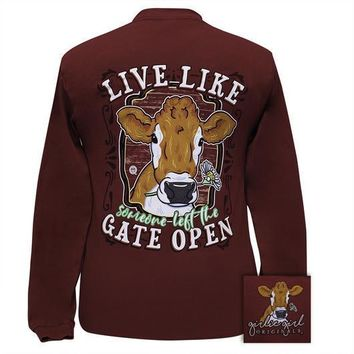 Girlie Girl Originals Preppy Live Like The Gate Open Cow Long Sleeve T-Shirt