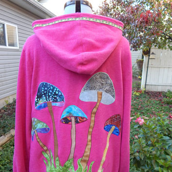 Upcycled Recycled Repurposed Full Zip Lightweight Hoodie Mushrooms OOAK Size XL hippie Patchwork boho chic, zip up jacket festival
