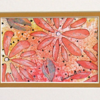 Colorful Floral Wall Decoration - Original Art - Mixed Media Painting -  Floral 3 - in Yellow, Green, Red and Orange