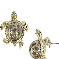 BetseyJohnson.com - TURTLE STUD EARRING GREEN