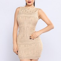 Stud On Stud Dress - Nude