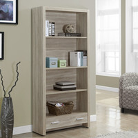 """Natural Reclaimed-Look 71""""H Bookcase With A Drawer"""