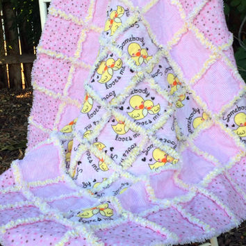 Flannel Baby Quilt - Baby Rag Quilt - Baby Girl Quilt - Toddler Quilt - Baby Quilt - Yellow and Pink Baby Bedding