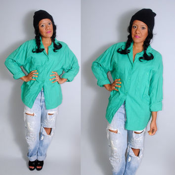 Vintage 90s short sleeve green long sleeve GRUNGE soft cotton  button down shirt S M L