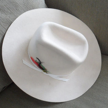 1970s LANNING CALGARY STAMPEDE/Bone Ivory Fur Felt Stetson/Cowboy Hat/Jr and Dallas Styled Stetson Cowboy Hat/White Stetson For Men or Women