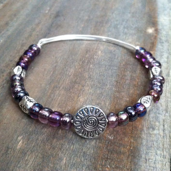 Beaded Bangle Bracelet - Purple Beaded Bracelet, Bangle Bracelet - Silver tone bracelet - Nature Bangle Bracelet