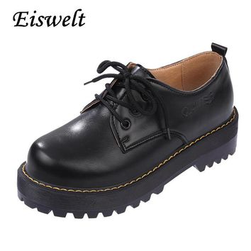 Fashion Online 2016 British Style Women Oxfords New Spring Winter Lace-up Flats Round Toe Creepers Casual Ladies Platform Shoes Woman#hds39