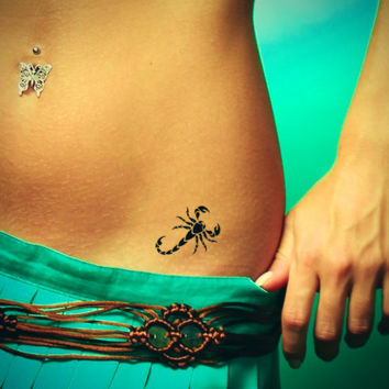 Scorpio tattoo. Temporary tattoos. Party fake tattoo