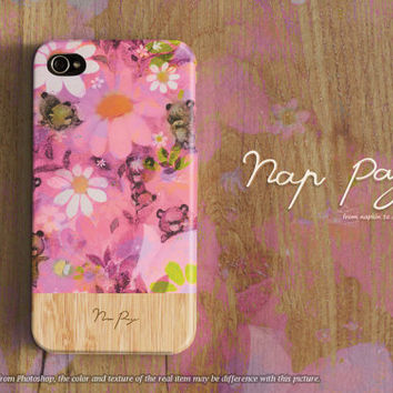 Apple iphone case for iphone iphone 5 iphone 5s iphone 5c iphone 4 iphone 4s iPhone 3Gs : sweet pink flowers with wood(not real wood)