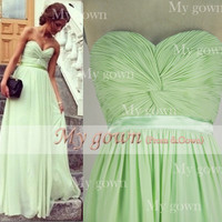 Gorgeous Strapless Sweetheart Floor Length Chiffon Prom Gowm Dresses Bridesmaid Dresses Wedding Cocktail Dress