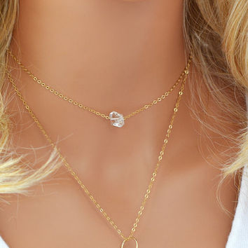 Delicate Diamond Necklace, Raw Crystal Necklace, Herkimer Diamond, Dainty Gold Necklace, Delicate Necklace, Silver, Rose Gold