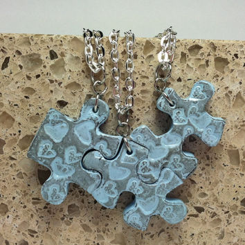 Puzzle Necklace Bridesmaid Best Friend Jewelry Set of 3 Necklaces Hearts Light blue Polymer Clay Set 105