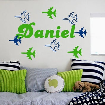 Nursery Wall Decals Personalized Name Decal  Baby Boy Bedroom Room Plane Airplane  Vinyl Sticker Custom Home Decor Murals MA282