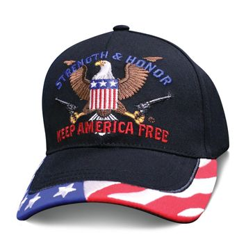 2nd Amendment Mens Hat STRENGTH AND HONOR KEEP AMERICA FREE American Flag Cap