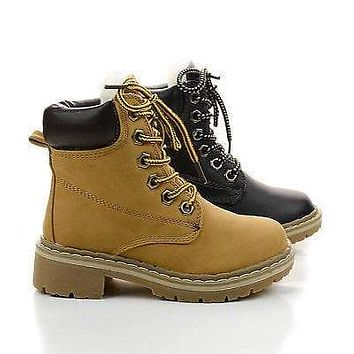 Broadway2K By Link, Children Girls Lace Up Faux Fur Lined Work Ankle Boots