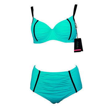 Underwire Solid High Waist Swimsuit