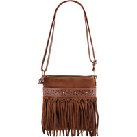 Suede Fringe Crossbody Bag Brown One Size For Women 18921440001