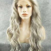 Gray Waist length Wavy Synthetic Lace Front Wig-SNY053 - SYNTHETIC WIGS - DonaLoveHair