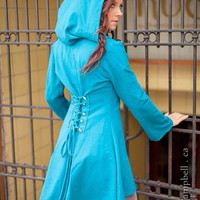 TEAL corset laced hoodie Fairy pixie steampunk cloak jacket modern red riding hood girly pirate