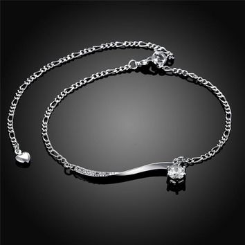 2017 New Arrival Classic Zircon Ankle Bracelet Trendy Simple Summer Silver Anklets Women Gift Statement Jewelry HOT SELL A012