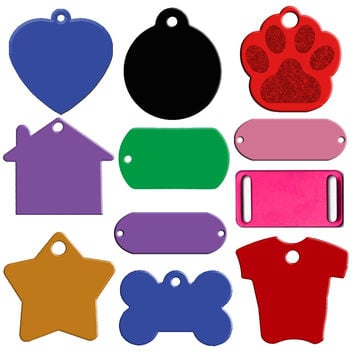 20pcs/lot Aluminum Pet ID Tag Custom Engraved Dog Cat Personalized Name Phone No. Tag Bone Heart Round Round Foot Shapes Mixed