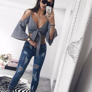 Gingham Grey Tortoise Sleeve Crop Top