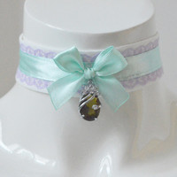 Kitten play day collar - Lavender mint - ddlg princess fairy kei kawaii cute neko pet girl lolita costume - lilac and pastel green