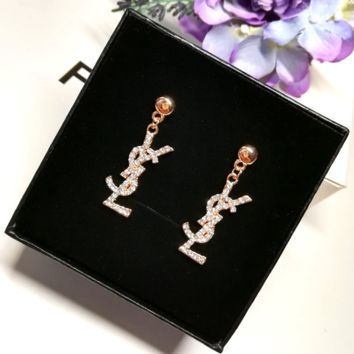 YSL shining rhinestone golden earrings