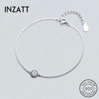 INZATT Punk Geometric Full Zircon Round Talisman Blue Eyes Of Evil Bracelet For Women Gold Color Fashion Jewelry Devil's Eye