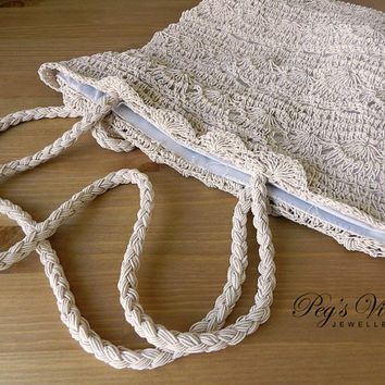 Vintage Crochet Purse//Bag, Cream Colour Crochet Shell Handbag//Hobo Bag