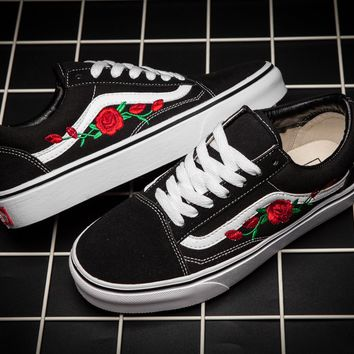 Trendsetter Vans Rose Embroidery Canvas Old Skool Flats Sneakers Sport Shoes