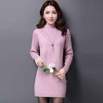 2016 Autumn Winter Women Sweater Dress Slim Half Turtleneck Long Knitted Dress Female Long Sleeve Sexy Bodycon Sweaters Dress