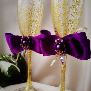 wedding champagne flutes purple wedding glasses.purple and gold wedding flutes purple wedding toasting glasses  purple wedding decorations