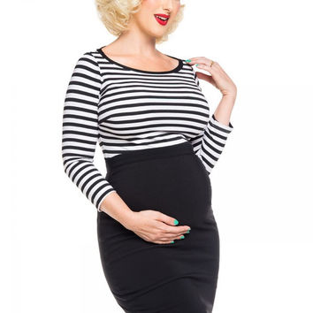 Boatneck Top in Black and White Stripe - Maternity Friendly
