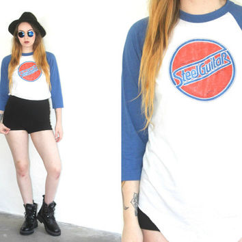 Vintage 80s BASEBALL Tee Steel Guitar T Shirt // White Blue Orange // Hipster Boho Gypsy Grunge // XS Extra Small / Small / Medium