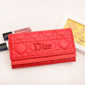 Dior LV Women Leather Multicolor Wallet Purse Red