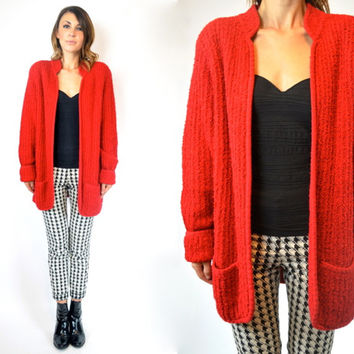 KNITTED oversized baggy DRAPED boho avant garde nubby red BOUCLE cardigan sweater, extra small-medium
