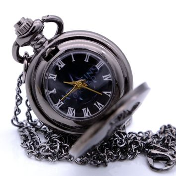 New Small Size Steampunk Vintage Assassin's Creed Mens Boys Quartz Pocket Watch Analog  Pendant Necklace Chain relogio de bolso