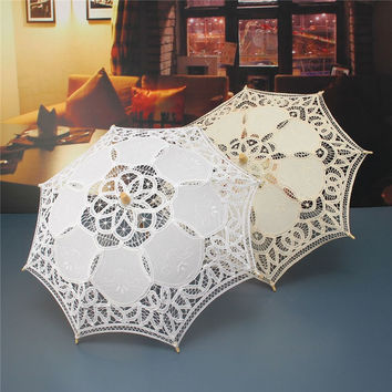 Hot Sale White Handmade Embroidered Lace Parasol Sun Umbrella Bridal Wedding Birthday Party Decoration